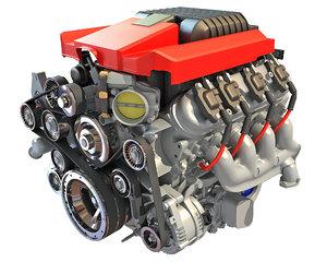 v8 supercharged engine 3D model
