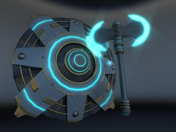 3D double axe shield