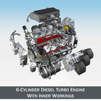 Diesel Turbo Engine with Interior Parts