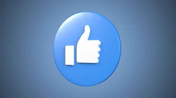facebook button ready 3D model
