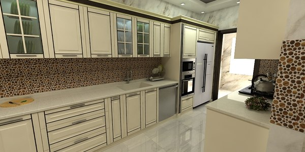 designed architectural kitchen 3D model