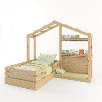3D model wooden bed