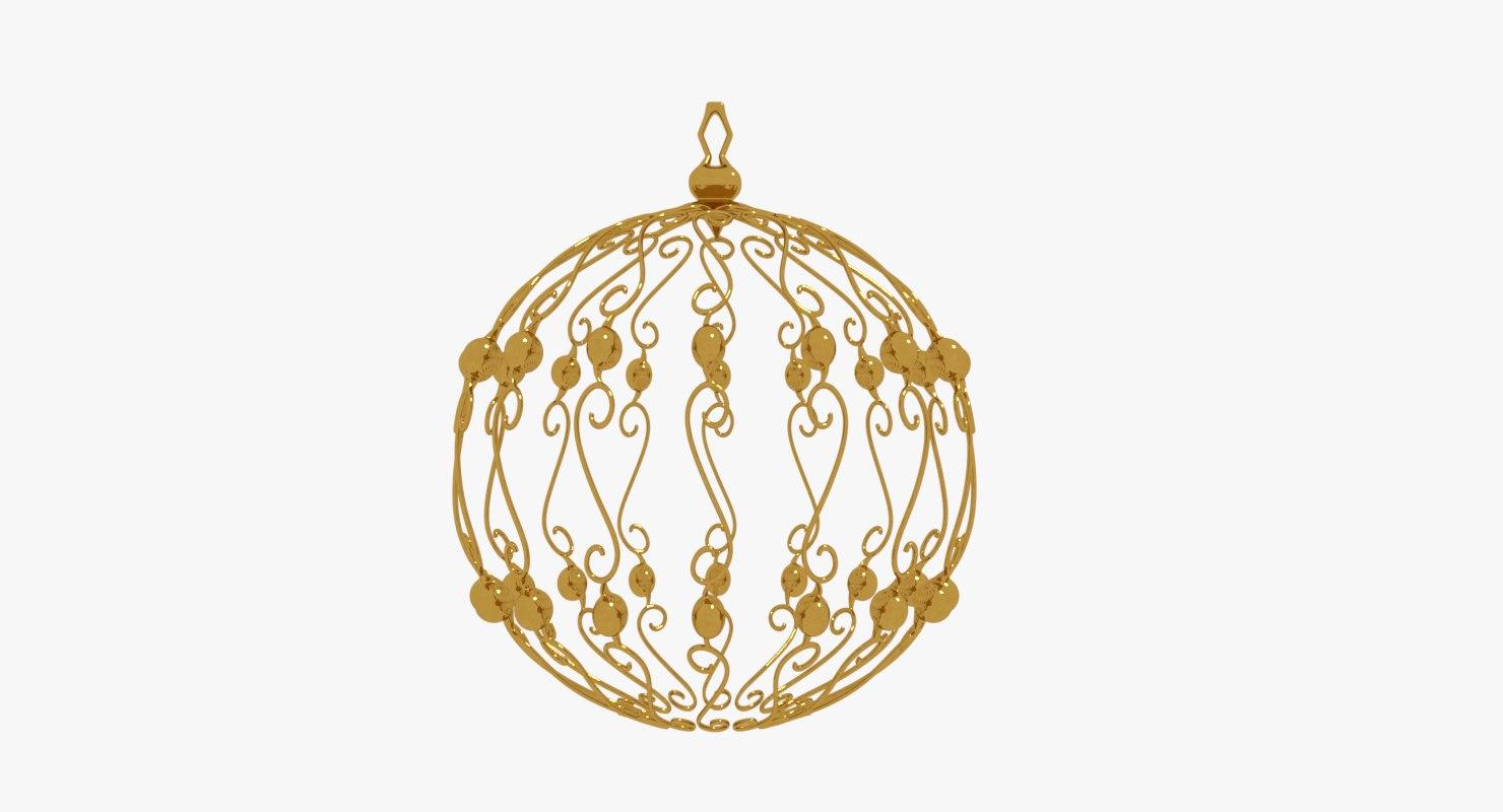christmas ball gold 3D model