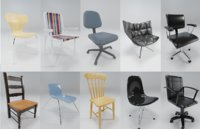 3D 10 chairs model