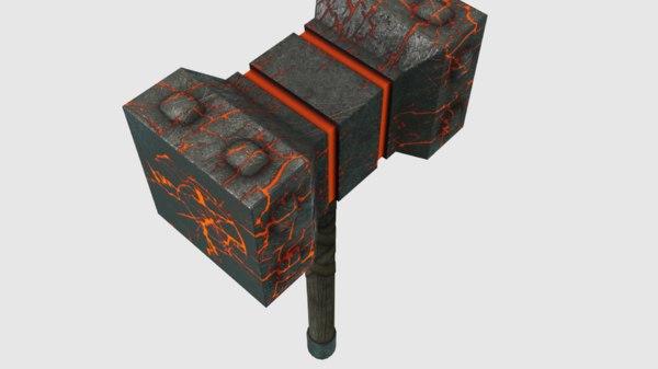 3D thor hammer mjlnir pbr