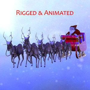 3D santa sleigh reindeer model