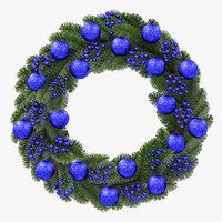 christmas wreath blue 3D model