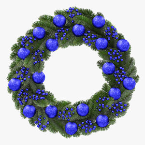 christmas wreath blue 3D model