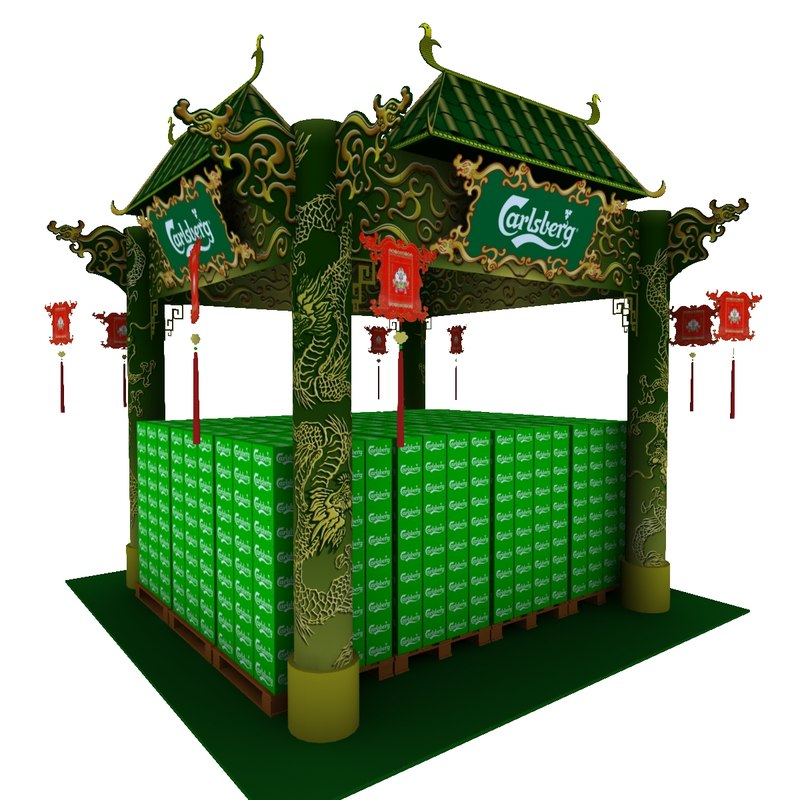 calsberg dragon exhibition booth 3D model