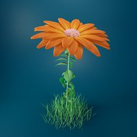 3D rigged orange flower model