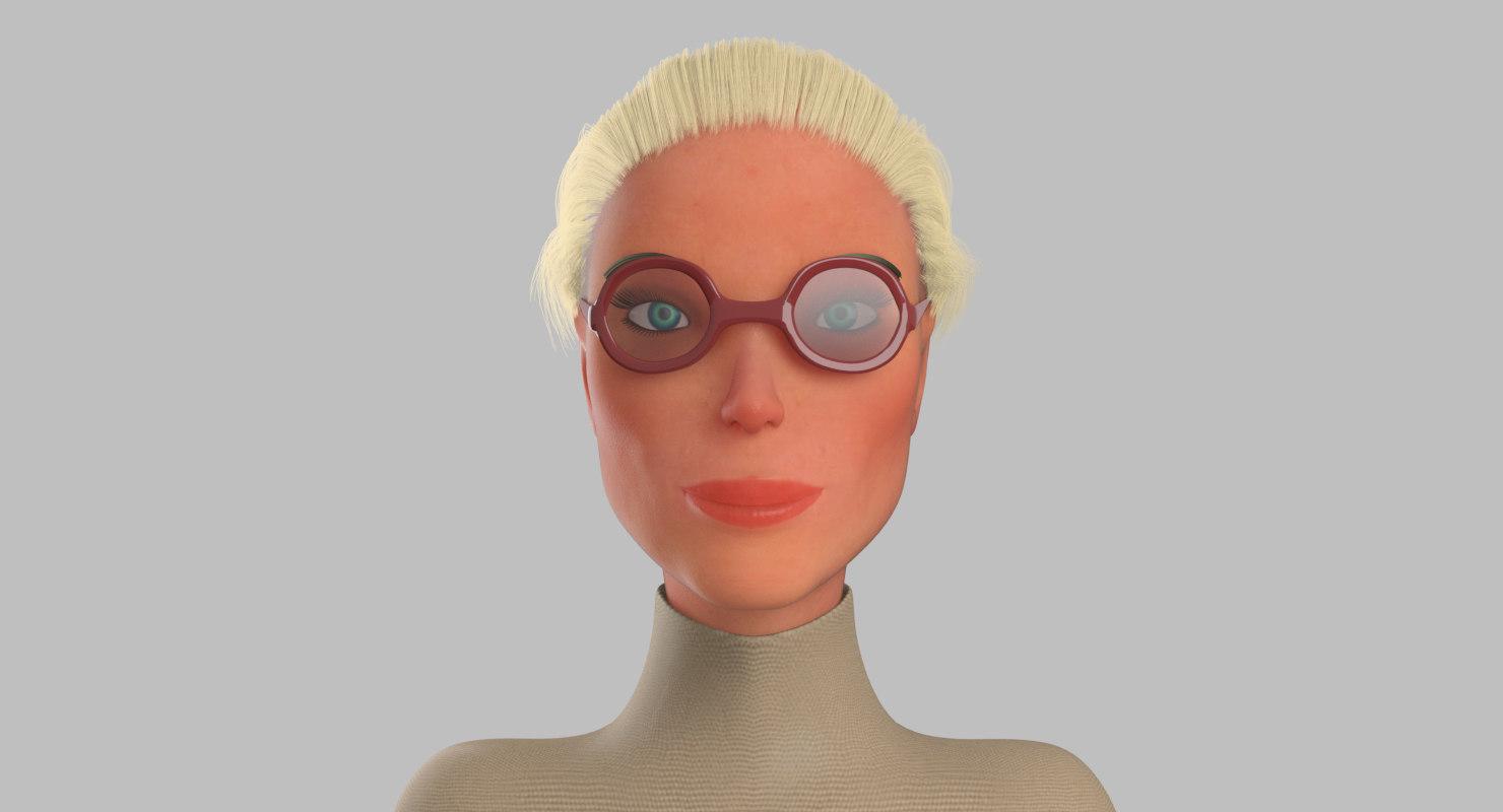 3D model teacher female ordinary