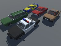 Low Poly Muscle Car with Interior in5 Modifications GAME MOBILE READY