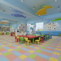 3D model kindergarten classroom interior