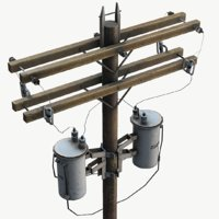 electric pole wooden 3D