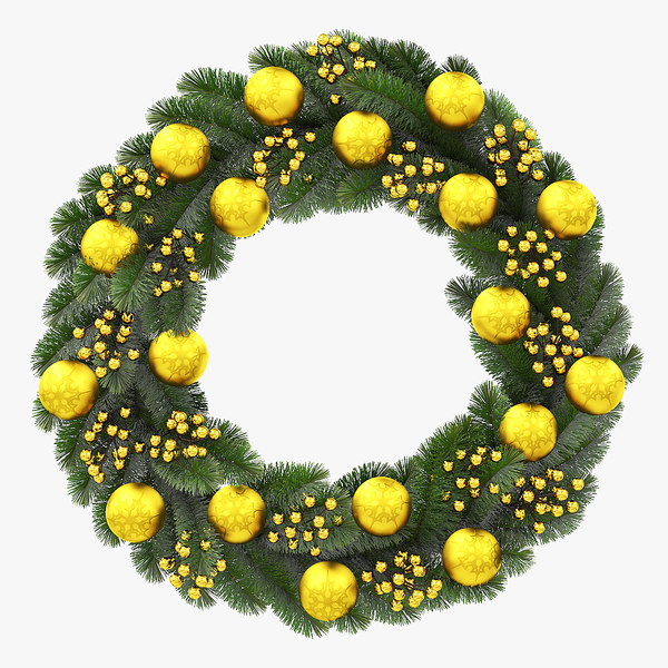 3D christmas wreath gold model