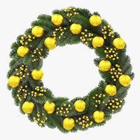 3D christmas wreath gold model