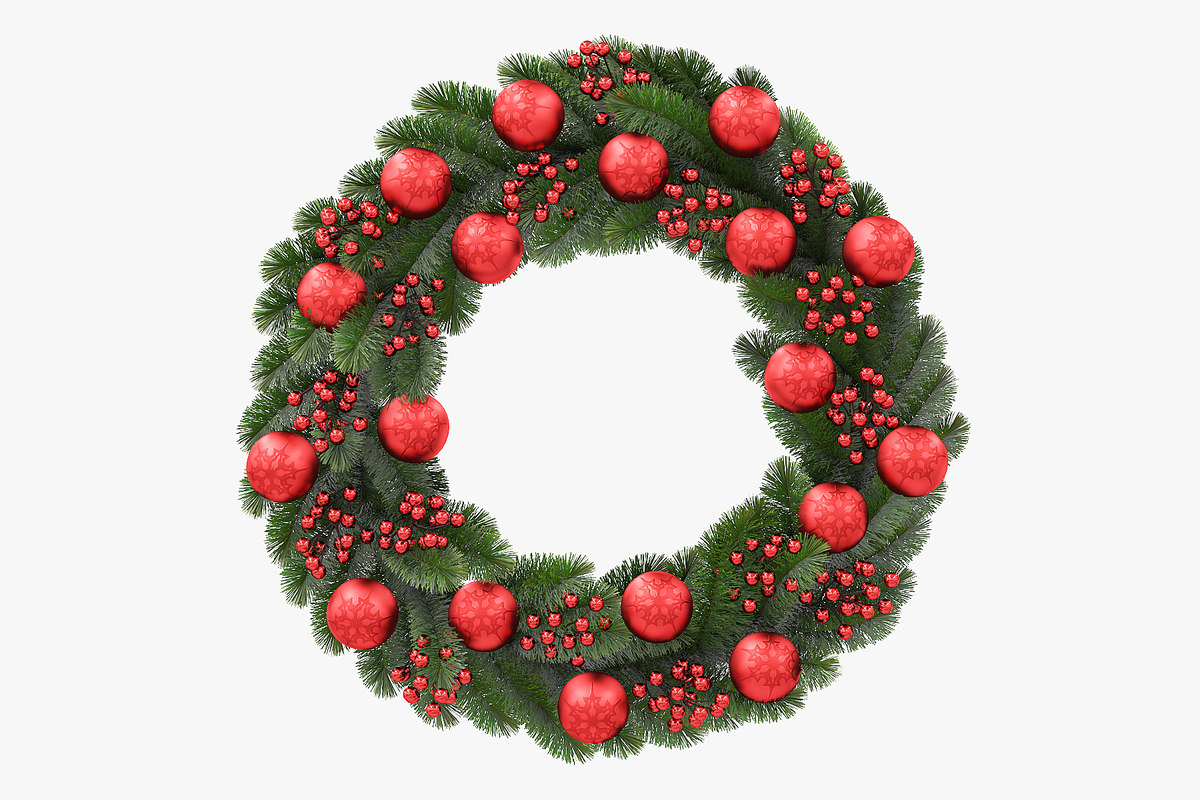 3D christmas wreath red