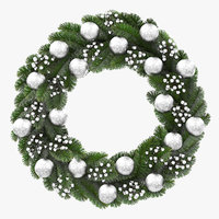 3D christmas wreath silver