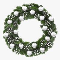 3D christmas wreath silver