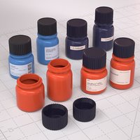 Laboratory Diagnostic Bottles 3D model
