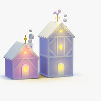 3D model cartoon christmas house