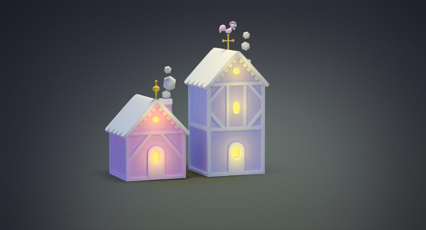 3D model cartoon christmas house