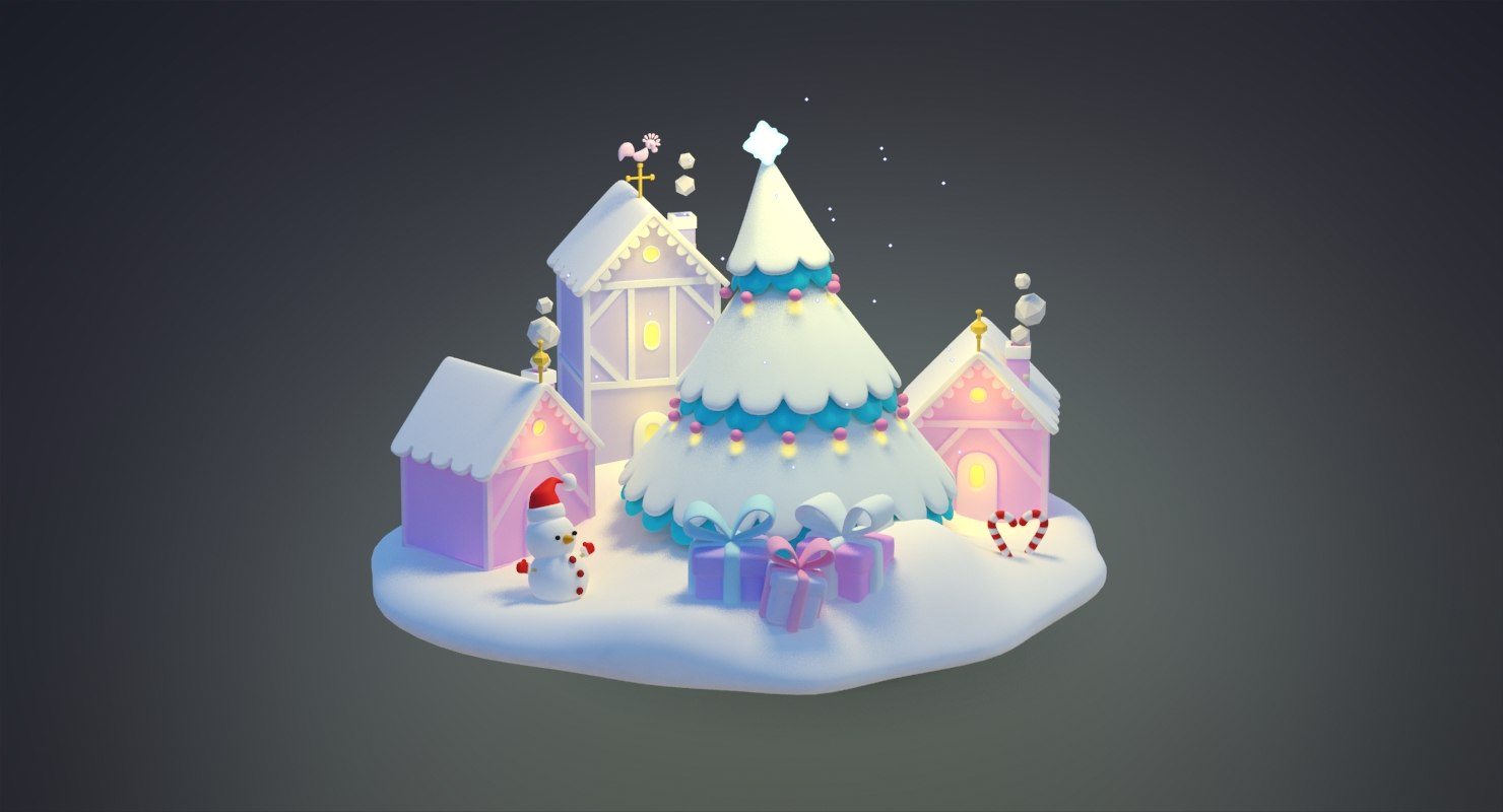 3D cartoon christmas city snowtree