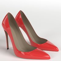 3D red shoes 1 model
