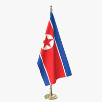3D north korea office flag
