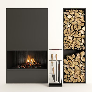firewood fireplace 3D
