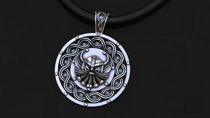 3D jewelry silver pendant god