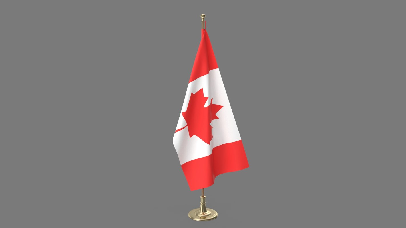 3D model canadian office flag