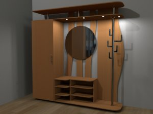 3D furniture hallway