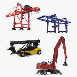 3D model port cranes 3