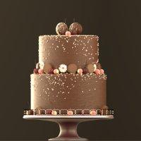 3D chocolate cake cookies model