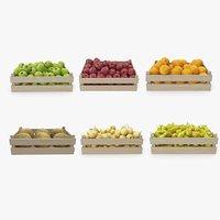 fruit pears apples crate 3D model