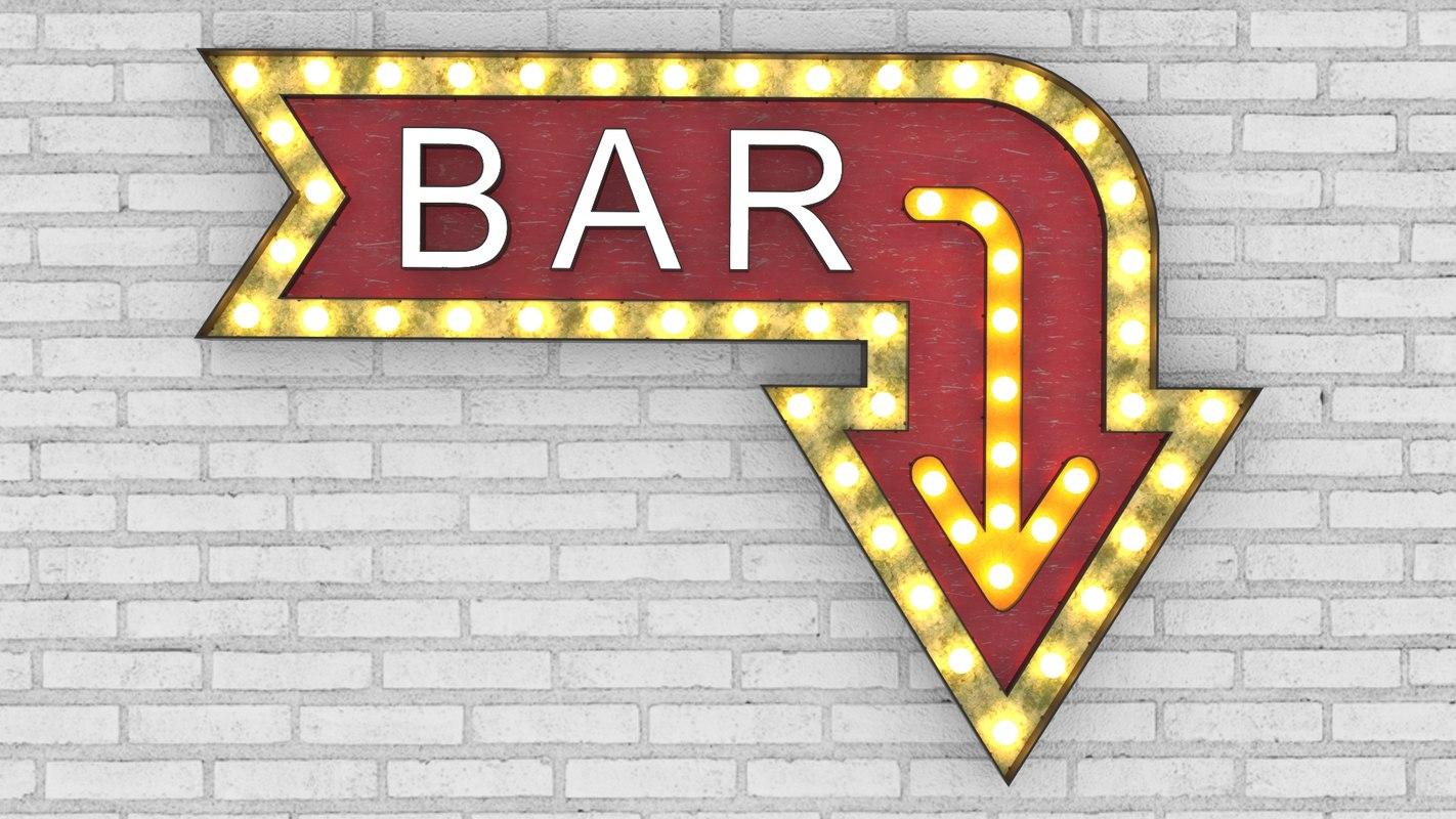 3D large light letters bar