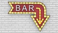 Large Up Letters Light Bar Sign
