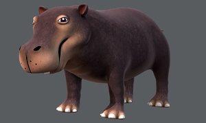 hippo v01 cartoon animal 3D model