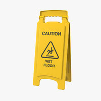 3D wet floor safety sign model