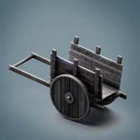 PBR Low Poly Medieval Wooden Cart