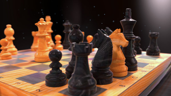 3D chess wood table model