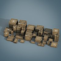 pbr wooden crate pack model