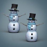 pbr snowman snow 3D model