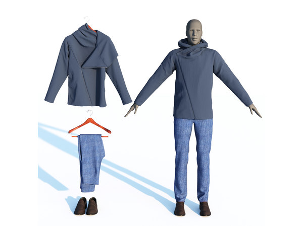 3D hoodie jeans loafers men s