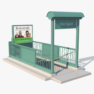 3D nyc subway entrance model