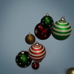 3D model pbr christmas baubles pack