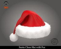 3D model santa claus hat fur