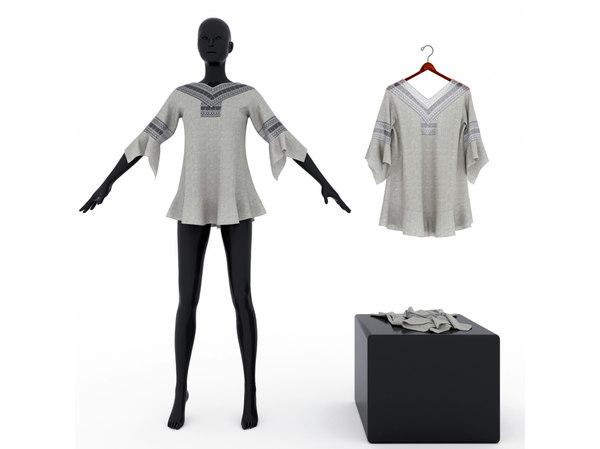 women s blouse lace 3D model