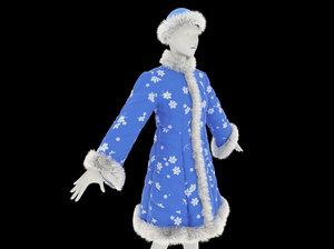 3D fur coat snow maiden model